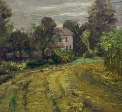 #5514 My House: Modern Impressionist Landscape Oil Painting of Country Home