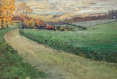 #5515 Irish Road: Impressionist Landscape Oil Painting of Green Country Field