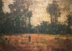 Figure in a Field: Abstract Mixed Media Landscape on Canvas