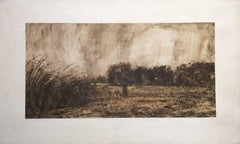 Unknown Figure in a Plowed Field: Abstract Mixed Media Landscape on Canvas