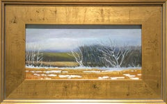 Last Snow (Small Landscape Oil Painting of Winter Country Field, Gold Frame)