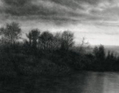 Anthem II (Contemporary Grey Scale Charcoal Landscape of Hudson River)
