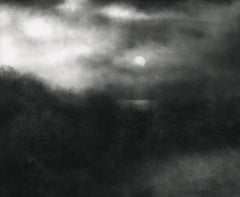 The Long Black Land (Black & White Charcoal Landscape Drawing of Moon & Clouds)