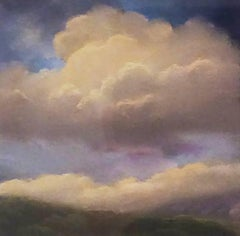 25 Series, No. 7: Pastel on Paper Landscape Drawing of Clouds in Sky, Framed