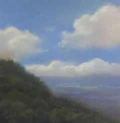 25 Series, No. 9: Catskill Mountain Pastel Landscape Drawing on Paper, Framed