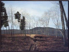 Stagger (Hyper Realist Late Autumn Landscape Painting on Wood Panel)