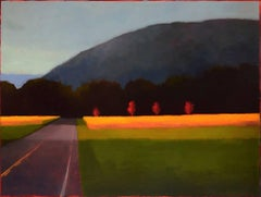 Fall Road Trip (Abstract, Minimal Landscape Painting, Country Field & Blue Hill)