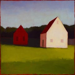 Beside the Point (Abstracted Landscape Painting with White Barns and Red Roofs)