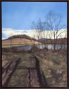 What Lies Ahead (Hyper Realist Early Spring Landscape Painting on Wood Panel)
