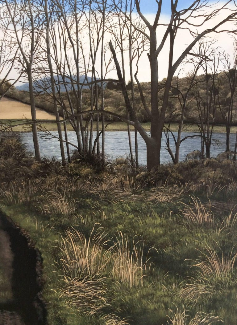 What Lies Ahead (Hyper Realist Early Spring Landscape Painting on Wood Panel) 1