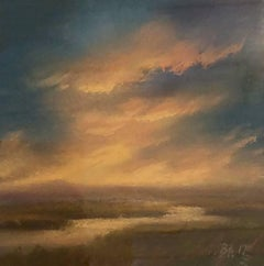 25 Series, No. 8: Pastel on Paper Landscape Drawing of Sunset Clouds, Framed