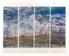 Warm Waters No. 17 (Contemporary Photograph of Blue Ocean Waves in White Frame)
