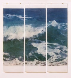 Warm Waters No. 20 (Contemporary Photograph of Blue Ocean Waves in White Frame)