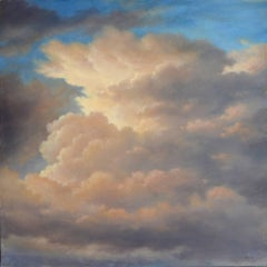Cloud Icon XVI: Luminist-Style Oil Painting of Warm Clouds and Blue Sky
