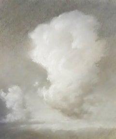 Rising (Black & White Charcoal Landscape Drawing of Sunlit Clouds, Framed)