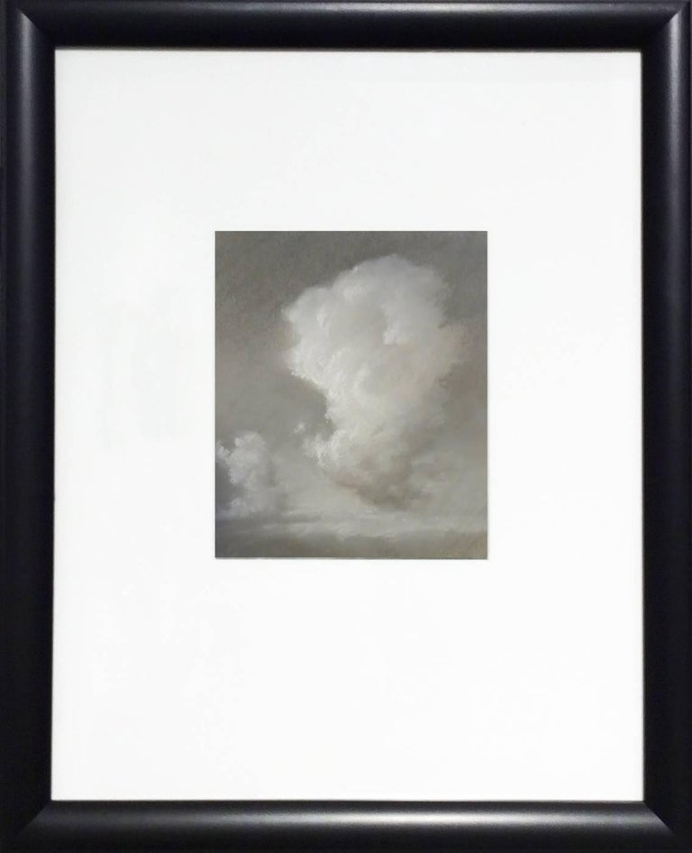Rising (Black & White Charcoal Landscape Drawing of Sunlit Clouds, Framed) - Art by Jane Bloodgood-Abrams