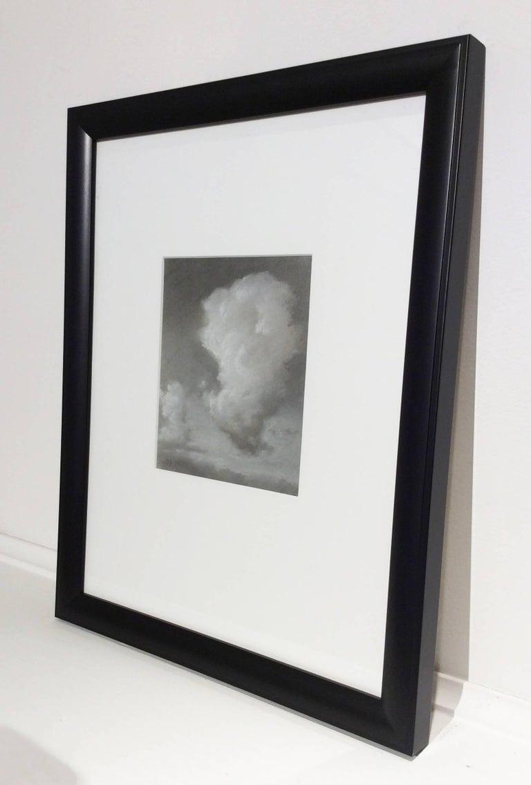 Rising (Black & White Charcoal Landscape Drawing of Sunlit Clouds, Framed) - Gray Landscape Art by Jane Bloodgood-Abrams