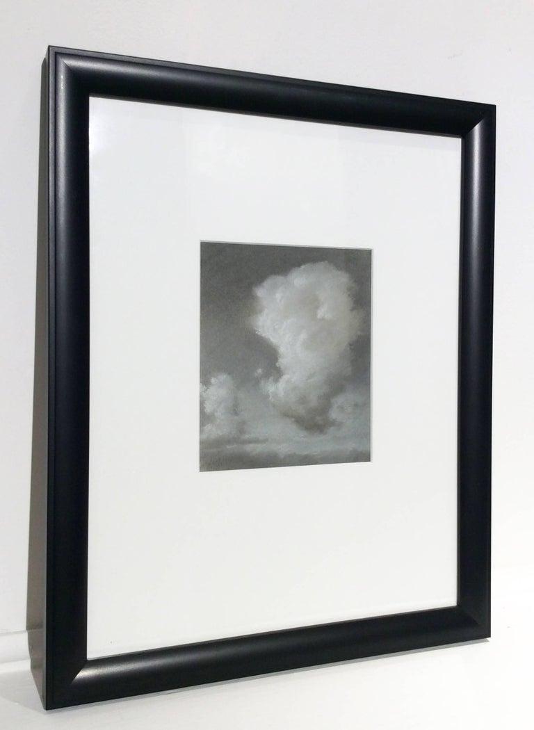 Rising (Black & White Charcoal Landscape Drawing of Sunlit Clouds, Framed) - Hudson River School Art by Jane Bloodgood-Abrams