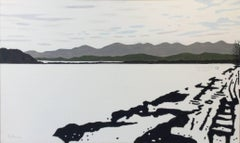 Hudson River, Frozen (Minimal Winter Landscape Oil Painting on Canvas)