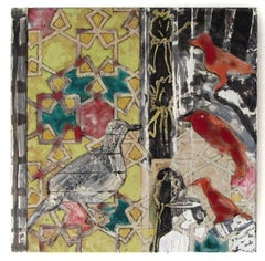 Configurations No. 1 (Abstract Ceramic Tile Painting with Birds & Mosaic Design)