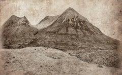 Cuillin Hills: Contemporary Sepia Landscape Photograph of Mountains in Scotland