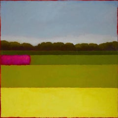 Horizontals (Abstract Color Field Landscape Painting in Green, Pink, & Blue)