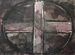 Purple Oval and Cross I: Mixed Media Drawing on Handmade Paper