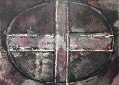 Purple Oval and Cross II: Mixed Media Drawing on Handmade Paper