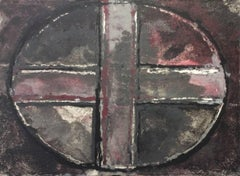 Purple Oval and Cross III: Mixed Media Drawing on Handmade Paper