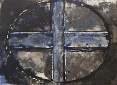 Blue Oval and Cross II: Mixed Media Drawing on Handmade Paper