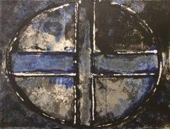 Blue Oval and Cross III: Mixed Media Drawing on Handmade Paper