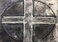 Black and White Oval and Cross III: Mixed Media Drawing on Handmade Paper