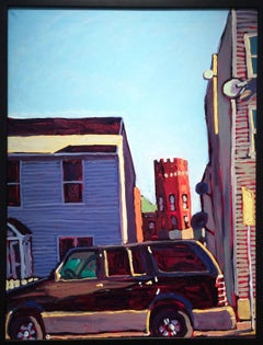 Dan Rupe - Hudson Library Between the Homes (Colorful Fauvist Style Cityscape Painting)