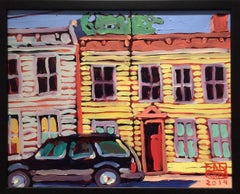Parked, Yellow & Grey House (Small, Colorful Fauvist Style Cityscape Painting)