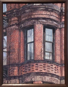 Upper West Side Walkup (Photo-Realist Oil Painting of NYC Red Brick Building)