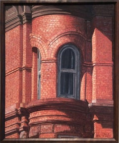 Upper West (Small, Photo-Realist Oil Painting of NYC Red Brick Building)