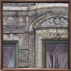 355 East Fourth (Small, Photo-Realist Oil Painting of NYC Grey Brick Building)