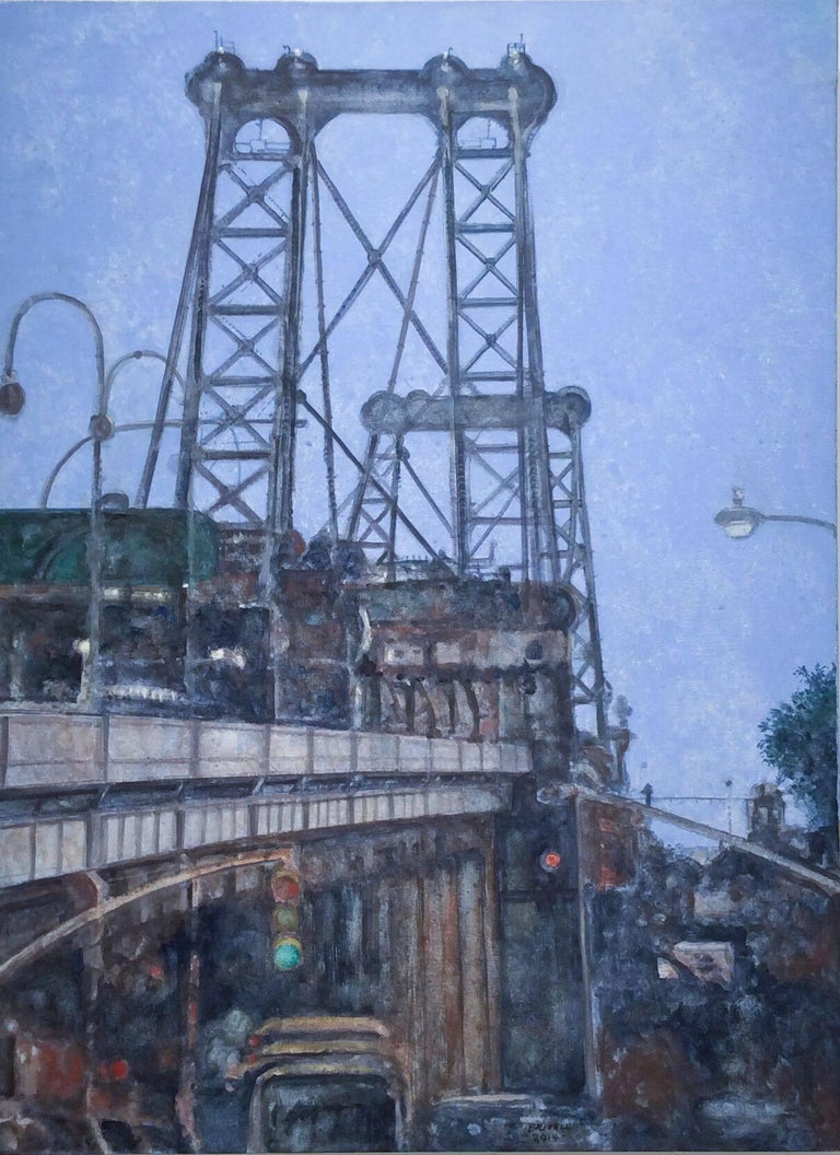 Manhattan Bridge (Modern, Vertical Cityscape Painting of NYC Bridge & Blue Sky)
