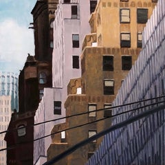 Three Shades of White (Cityscape Oil Painting of New York City Brick Buildings)