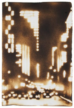 Traffic on the Avenue (Light Filled Nocturnal Cityscape Painting on Paper)