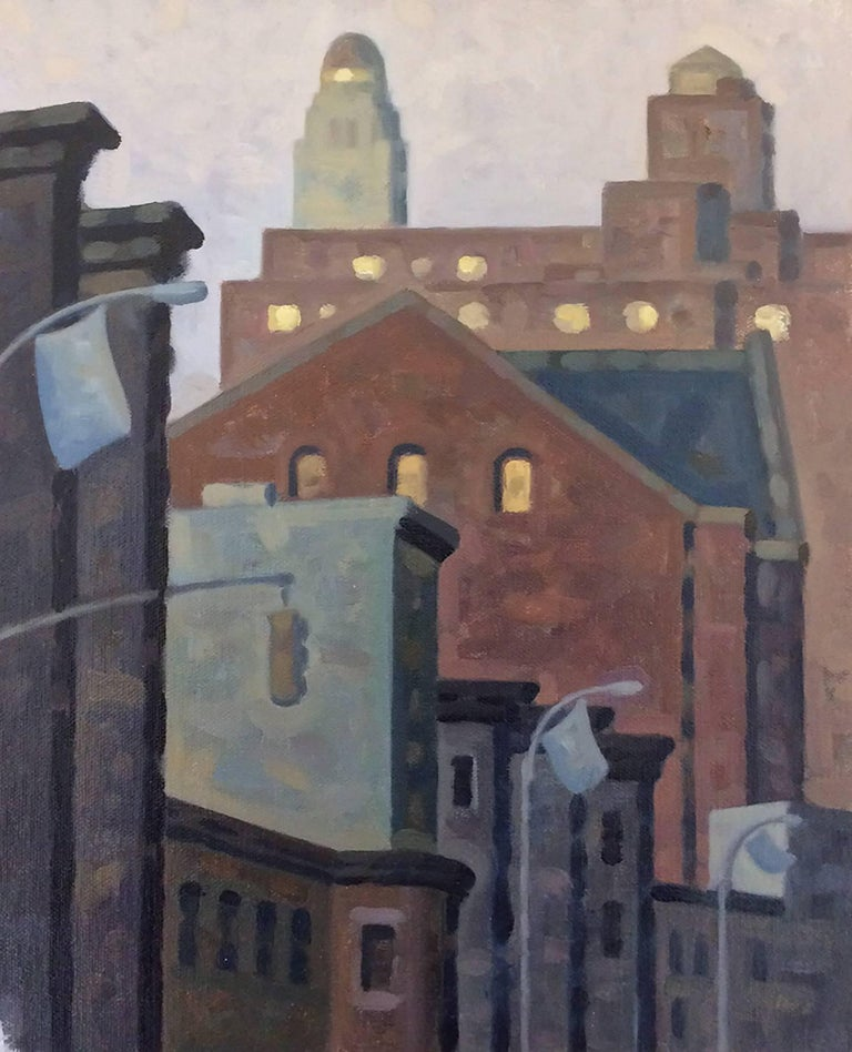 Lafayette AM 3, Study (Cityscape Oil Painting of Brooklyn Skyline)