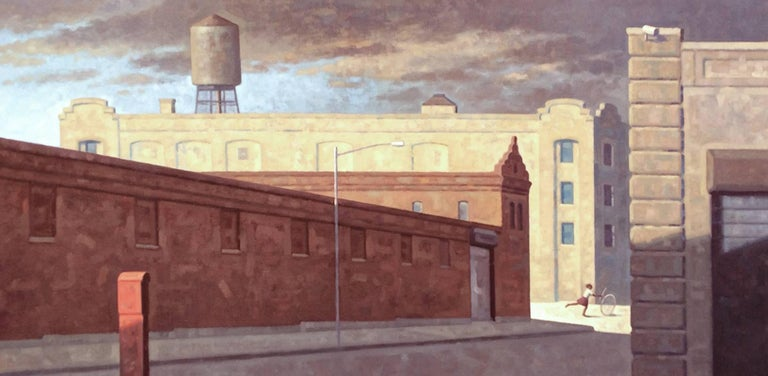Bond Street Panorama (Cityscape Oil Painting of Brooklyn Buildings)