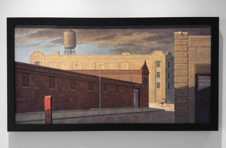 Bond Street Panorama (Cityscape Oil Painting of Brooklyn Buildings) - Brown Landscape Painting by Robert Goldstrom