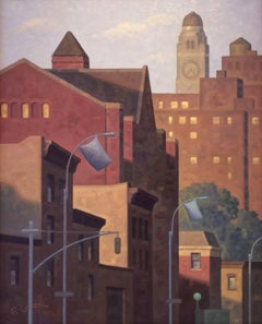 Sunrise, Lafayette (Cityscape Oil Painting of Brooklyn Skyline)