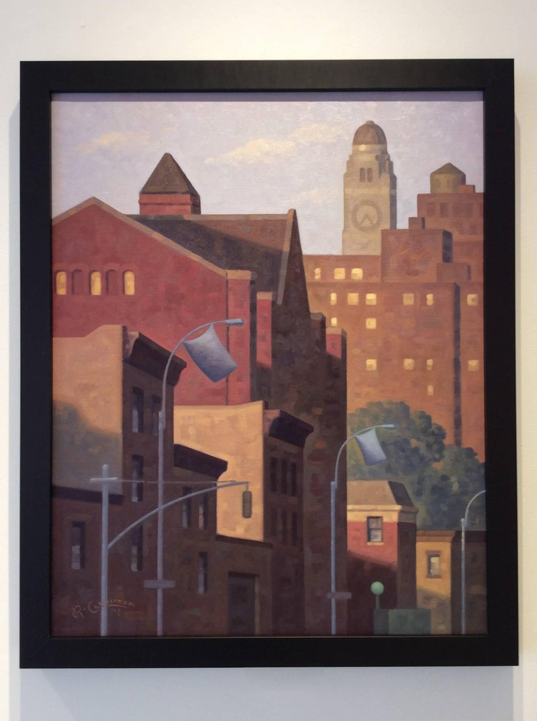 Modern, Pointillist-style cityscape painting on Brooklyn, NY in simple black frame  Oil on linen board 30 x 24 inches 32 x 27 inches framed  This vertical cityscape oil painting on canvas board in a black frame was painted by Robert Goldstrom in