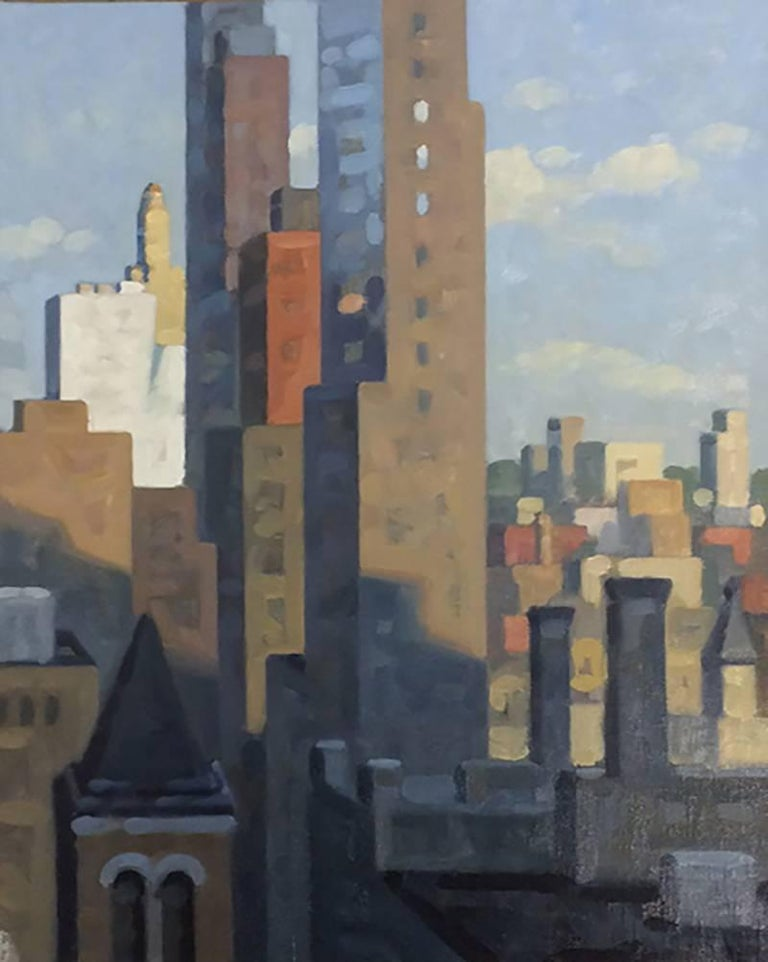 Livingston View, Study (Cityscape Oil Painting of Brooklyn Skyline)