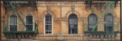 Six Windows 98 St Marks Place: Photo Realist Oil Painting of NYC Brick Building