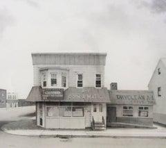 A1 Coinomatic  (Modern Realist Cityscape in Black & White Watercolor)