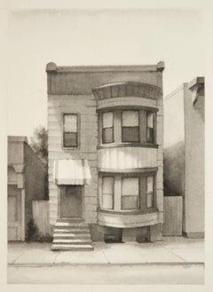 Fourth Street II  (Modern Realist Cityscape in Black & White Watercolor)