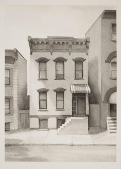 Fourth Street III  (Modern Realist Cityscape in Black & White Watercolor)